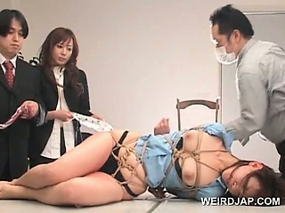Asian sex slave gets submitted all over sexual teasing in group