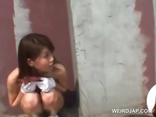 Public nudity scene with hot asian teen toddler