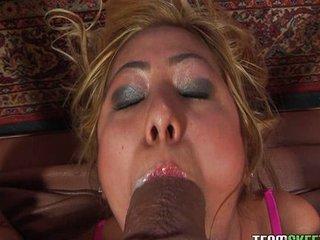 petite Asian hottie Kat Kiss gagging on a pat