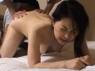 Butt oriental milf appears nude and with a beamy dick in the brush