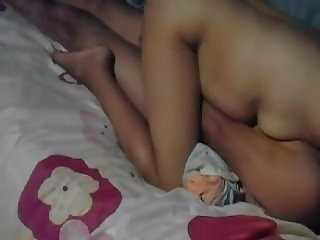 Close-up creampie kneading of a Thai wife