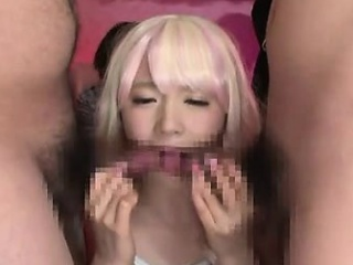 pretty japanese gives handjob added to blowjob