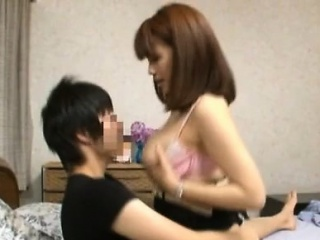 Japanese milf with large tits livecam view with her son