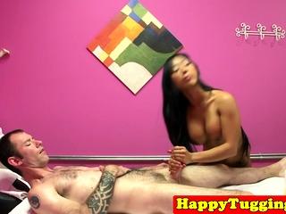 Faketit asian masseuse cockriding her client