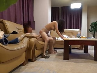 Petite Chinese girl banged in throughout positions on the sofa