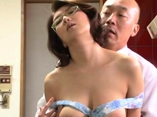 Japanese honey gets her extensive tits out and drilled