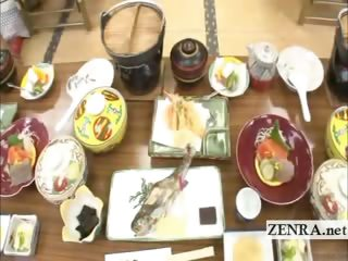 Subtitled Japanese milfs set up foreplay dining party