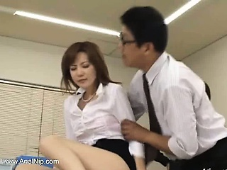 Asian secretary from asian in all directions nuisance milk
